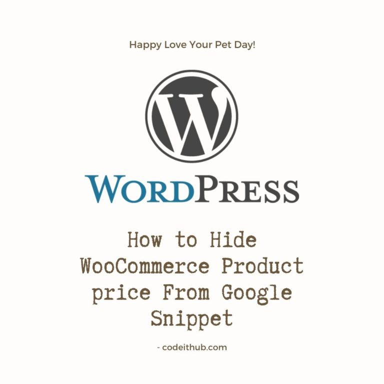 Hide WooCommerce Product price From Google Snippet